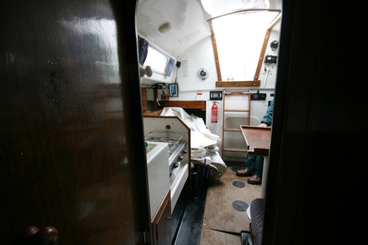 Master Marine Eygthene 24for sale The view aft from the fore cabin -