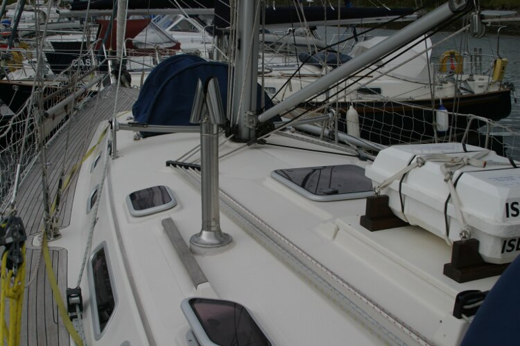 Hanse 411for sale Coachroof - Liferaft seen in position forward of the spray hood.