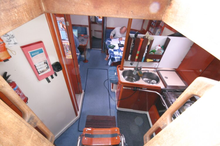 Hanse 411for sale Looking down the Companionway -