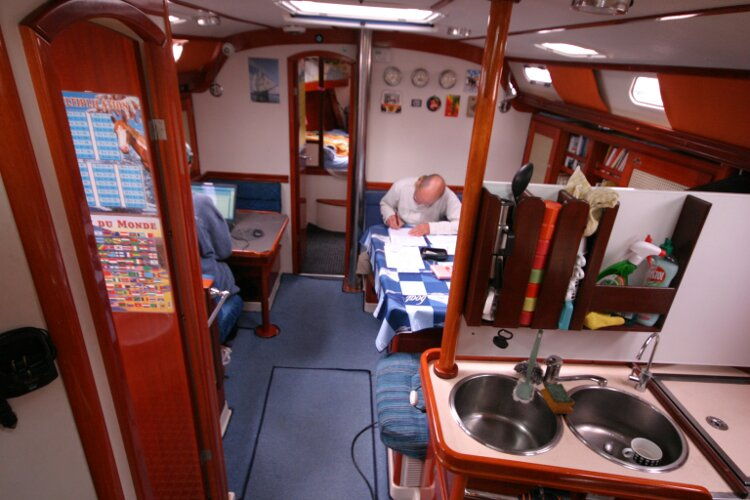 Hanse 411for sale Looking Forward from the Bottom of the Companionway Steps -