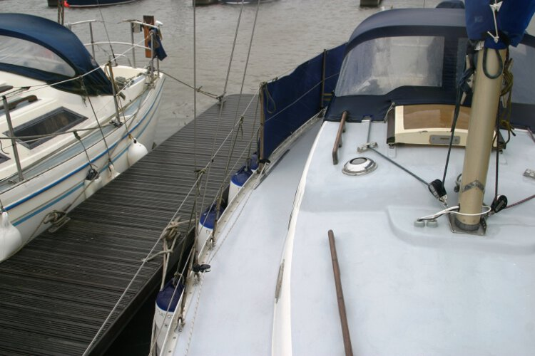 Morgan Giles for sale The view along the starboard side deck -