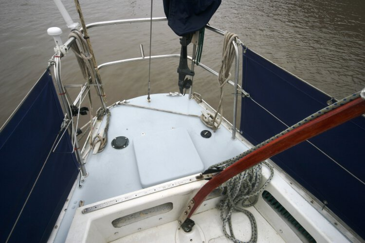 Morgan Giles for sale The stern deck - With a large stern locker, outboard stowage etc