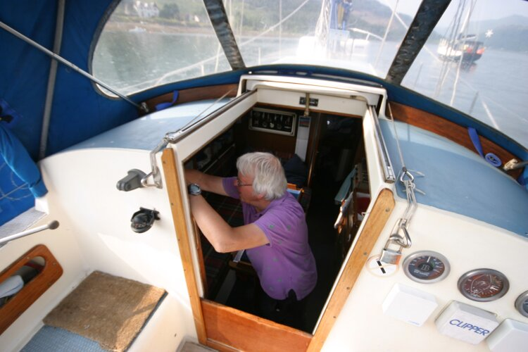 Westerly Renown View into Companionway Entrance