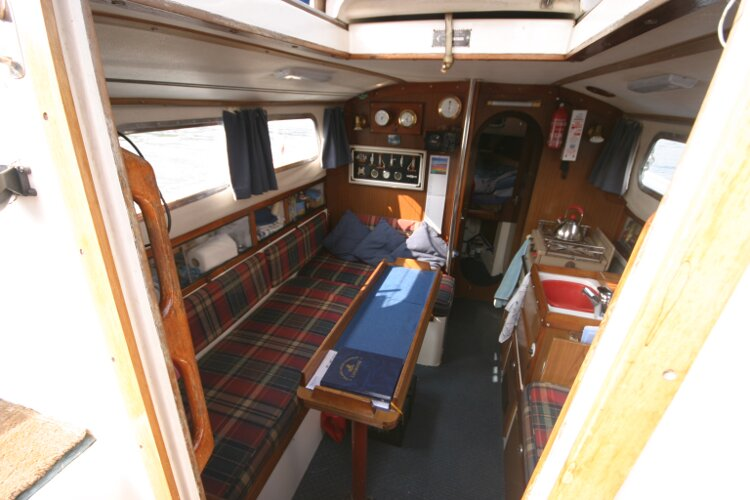 Westerly Renown Looking into the saloon from the companionway