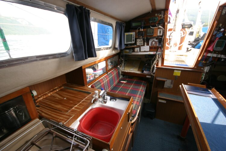 Westerly Renown Saloon looking aft past galley to nav station