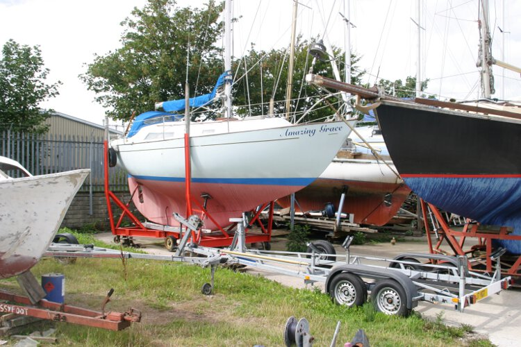 Halmatic 30for sale She is lying ashore -