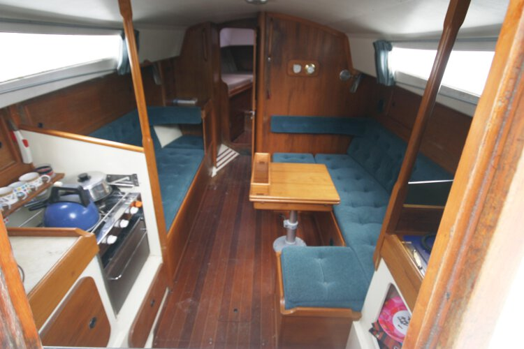 Halmatic 30for sale The saloon - Well laid out and comfortable,with the galley to port and the navigation station to starboard