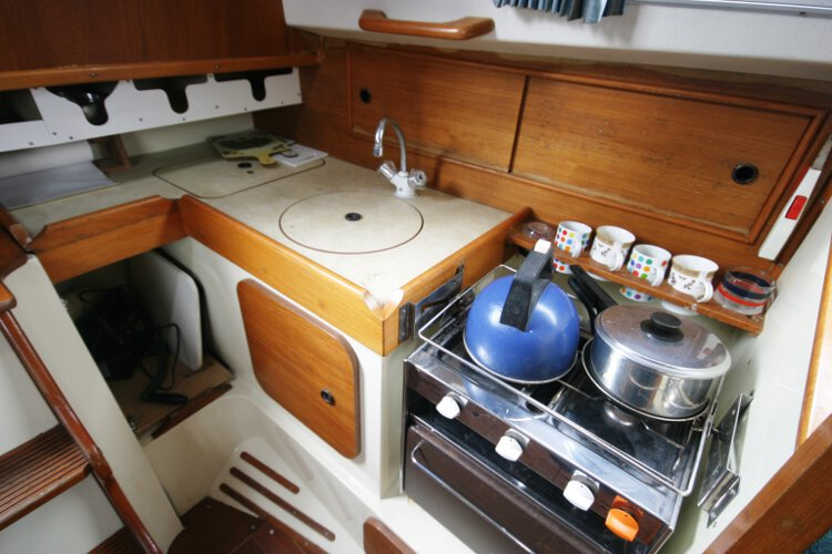 Halmatic 30for sale The galley - Compact yet well laid out out
