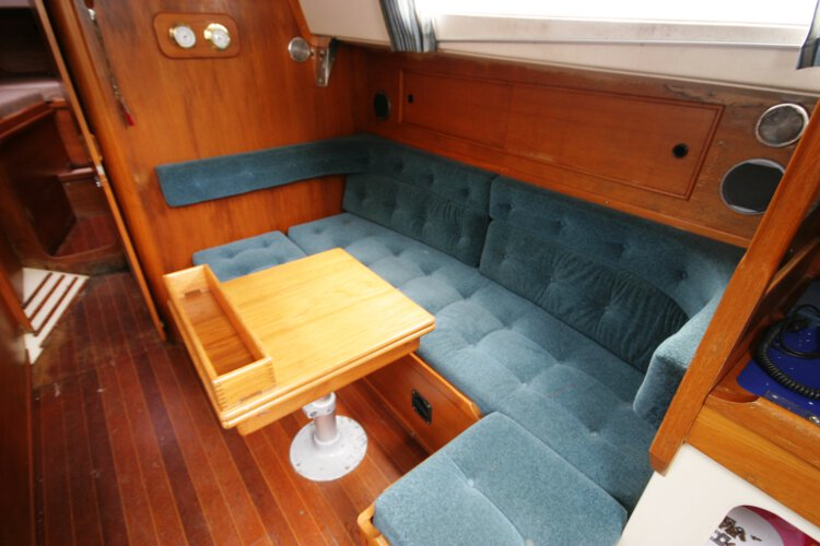 Halmatic 30for sale Saloon view - This is the starboard side settee which can be either a single berth, or it will convert to a double if required