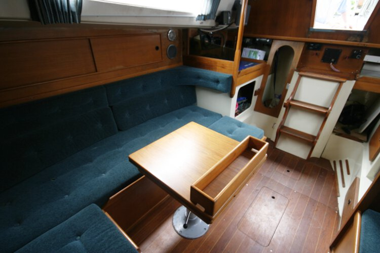 Halmatic 30for sale Saloon view - Another view of the settee berth and saloon table.
