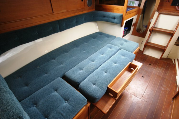 Halmatic 30for sale The starboard settee converted to a double -