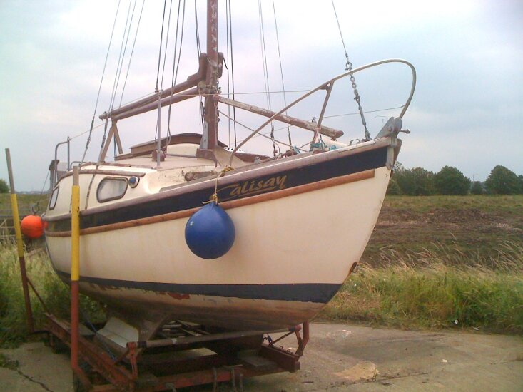 Westerly 22for sale On the yard trolley - Starboard view
