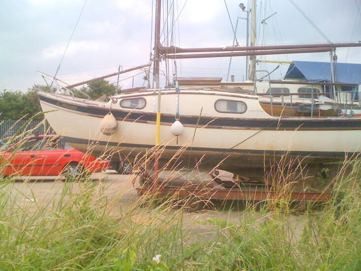 Westerly 22for sale In the yard, broadside view -