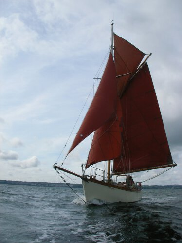 Wooden Classic Gaff cutterfor sale Dreva under sail - A stunning view of this lovely classic