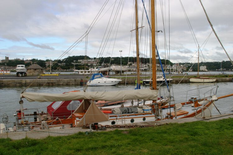 Wooden Classic Gaff cutterfor sale Seen from ashore -