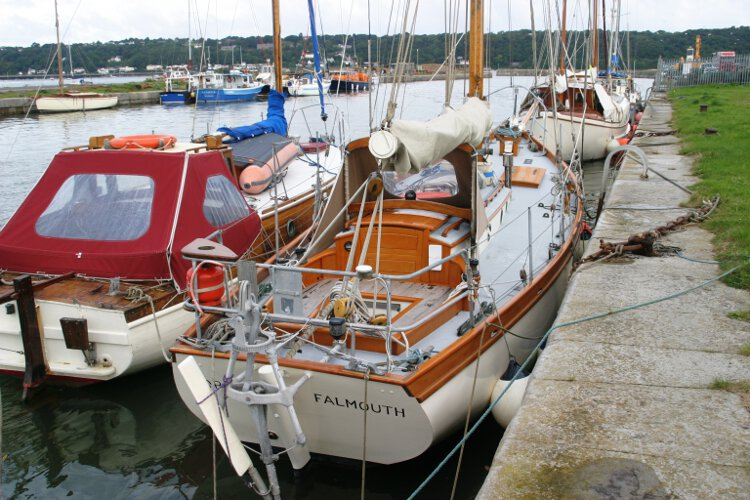 Wooden Classic Gaff cutterfor sale The view from astern - Note the self steering gear