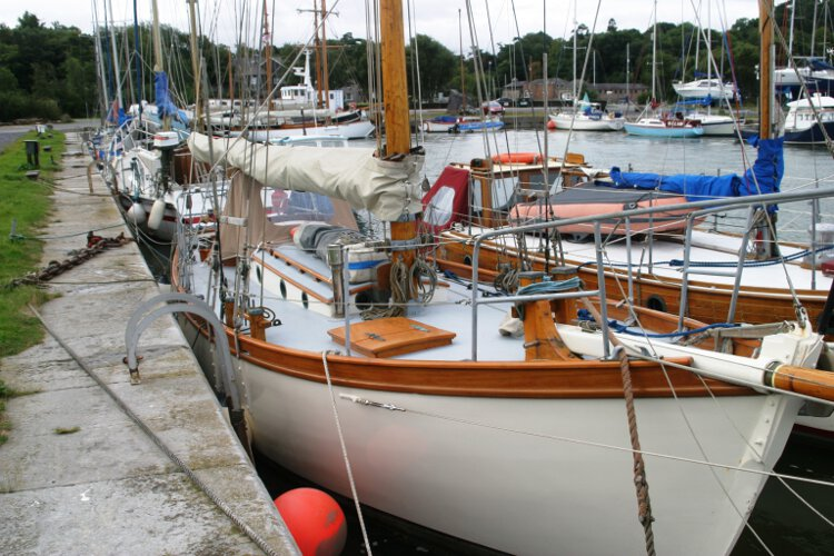 Wooden Classic Gaff cutterfor sale Seen from ashore - Looking along the starboard side