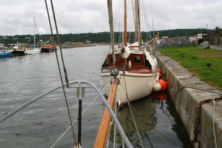 Wooden Classic Gaff cutterfor sale The bow sprit - As seen from the fore deck, note the furling gear at the point
