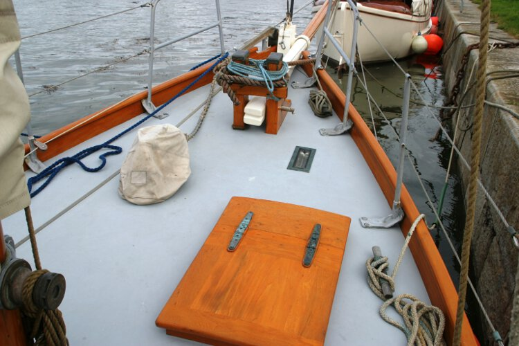 Wooden Classic Gaff cutterfor sale Fore deck view - Showing the general lay out