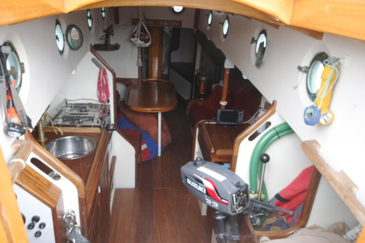 Wooden Classic Gaff cutterfor sale The saloon - As seen from the companionway