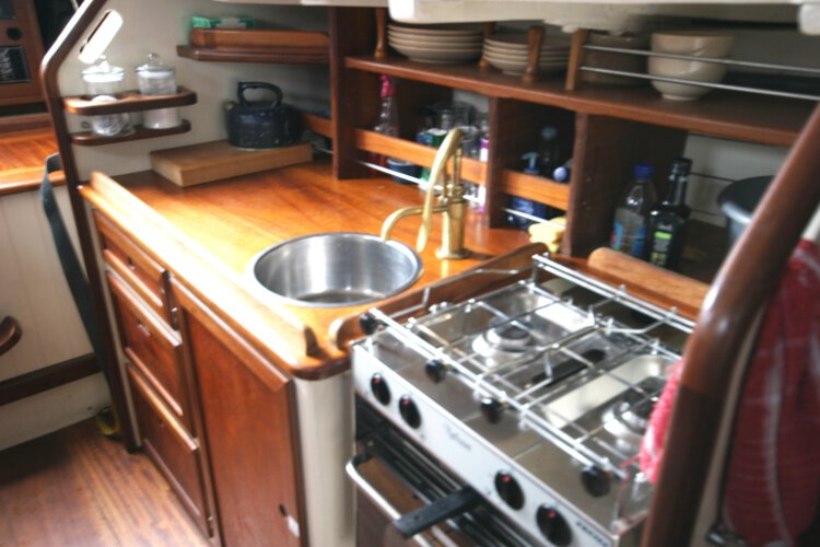 Wooden Classic Gaff cutterfor sale The galley - Well equipped with ample storage space
