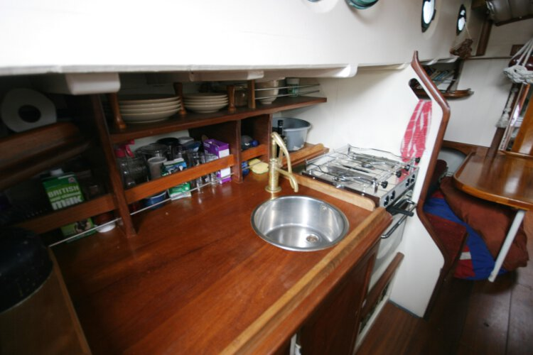 Wooden Classic Gaff cutterfor sale The galley -