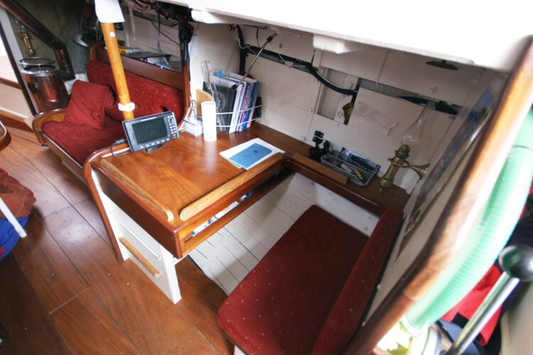 Wooden Classic Gaff cutterfor sale The navigation station - Situated on the starboard side of the saloon