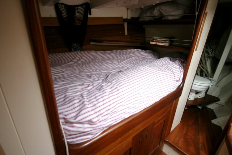 Wooden Classic Gaff cutterfor sale The port side double berth -