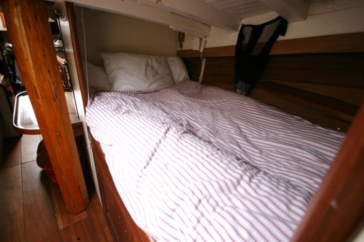 Wooden Classic Gaff cutterfor sale The port side saloon berth -
