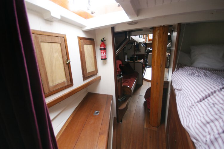 Wooden Classic Gaff cutterfor sale Looking aft into the saloon - Seen from forward