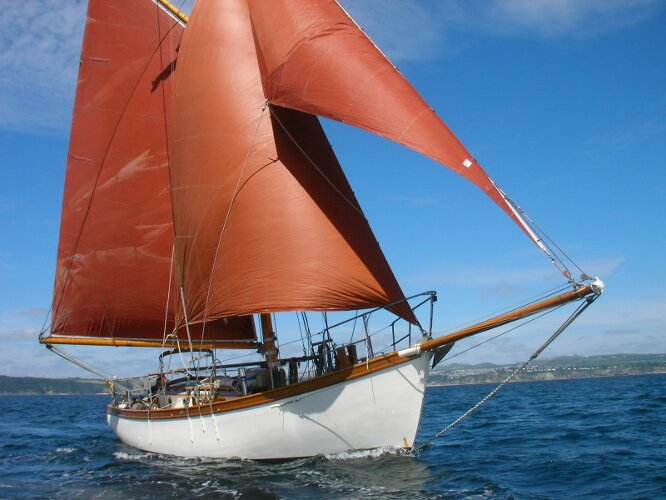Wooden Classic Gaff cutterfor sale Under sail - Owners picture