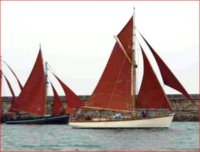 Wooden Classic Gaff cutterfor sale Under sail - Starboard tack, note the cutter rig and the topsail