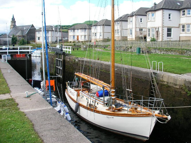 Wooden Classic Gaff cutterfor sale In the Crinan canal - Owners picture