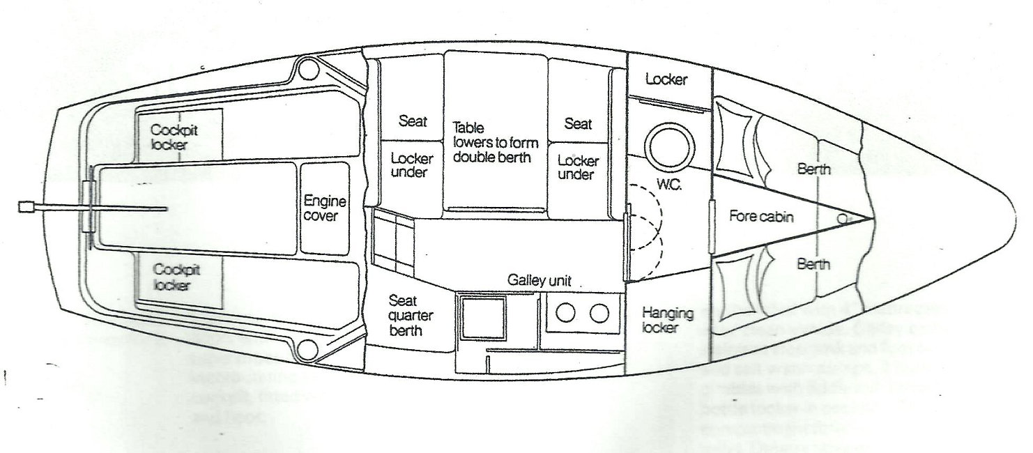 Seamaster Sailer 23for sale Layout Drawing - From Manufacturer's original brochure.