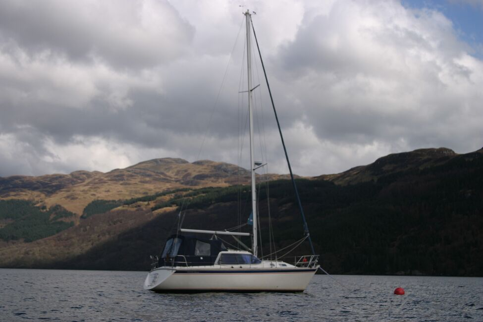 Westerly Riviera 35 MkIIfor sale On Her Mooring - Distant view showing full rig