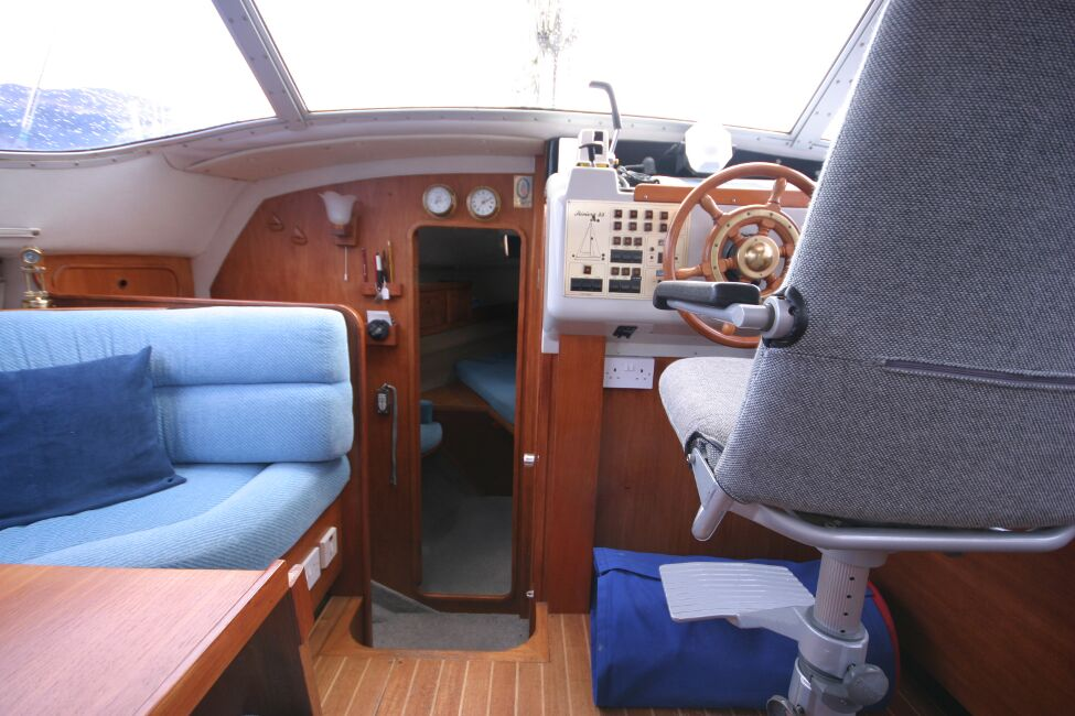 Westerly Riviera 35 MkIIfor sale Bottom of the Companionway Steps - Looking towards the forward cabin entrance.