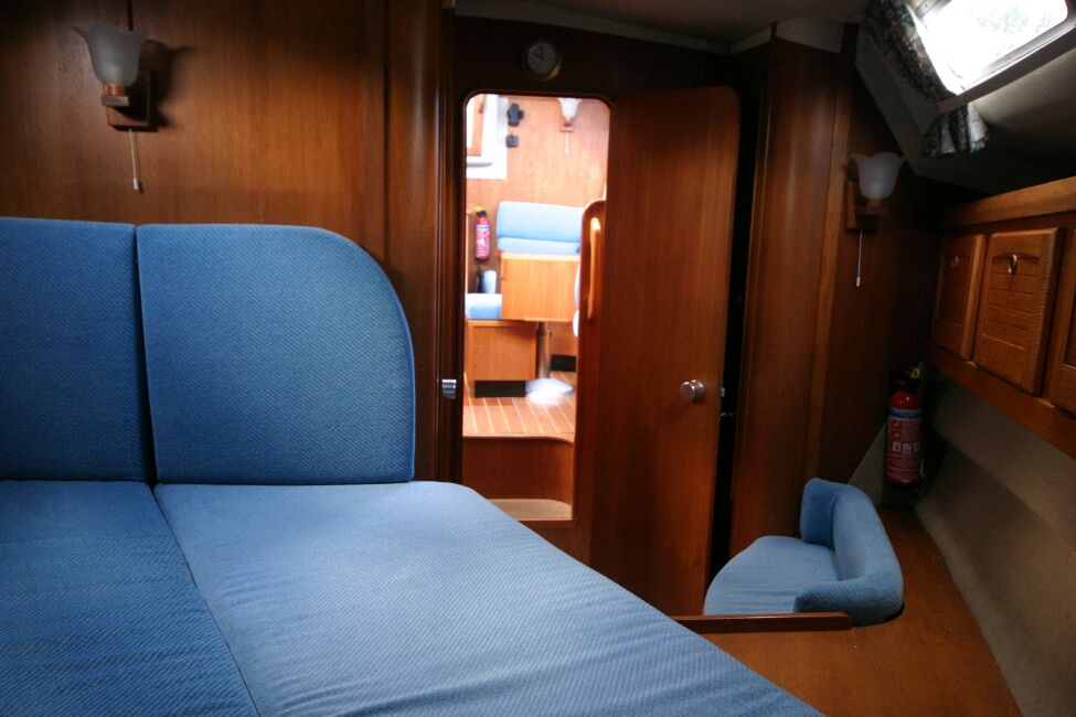 Westerly Riviera 35 MkIIfor sale Forward Cabin - Looking aft towards the bridge deck