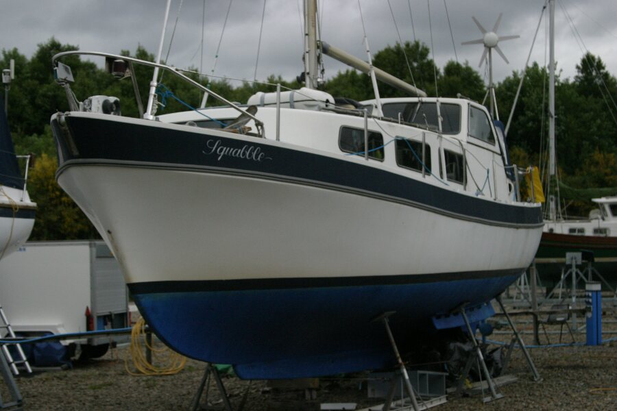 Finnsailer 35ft Motor Sailer In the boatyard