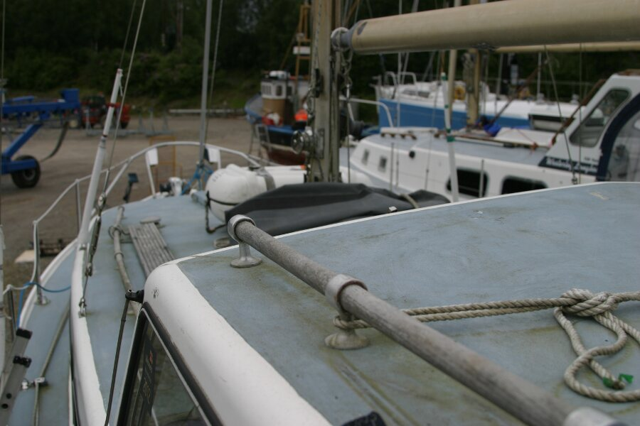 Finnsailer 35ft Motor Sailer Port side looking forward over the doghouse roof
