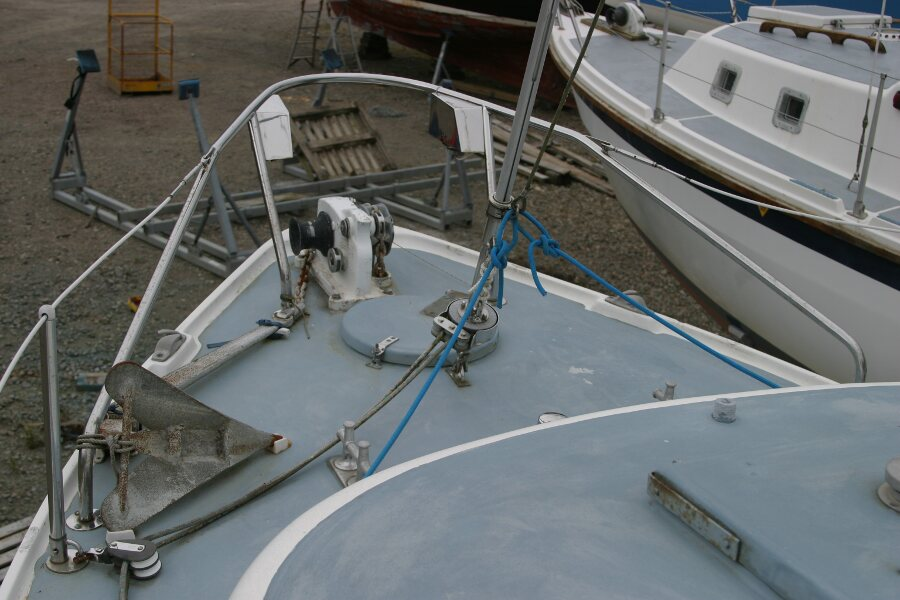 Finnsailer 35ft Motor Sailer Foredeck from port side
