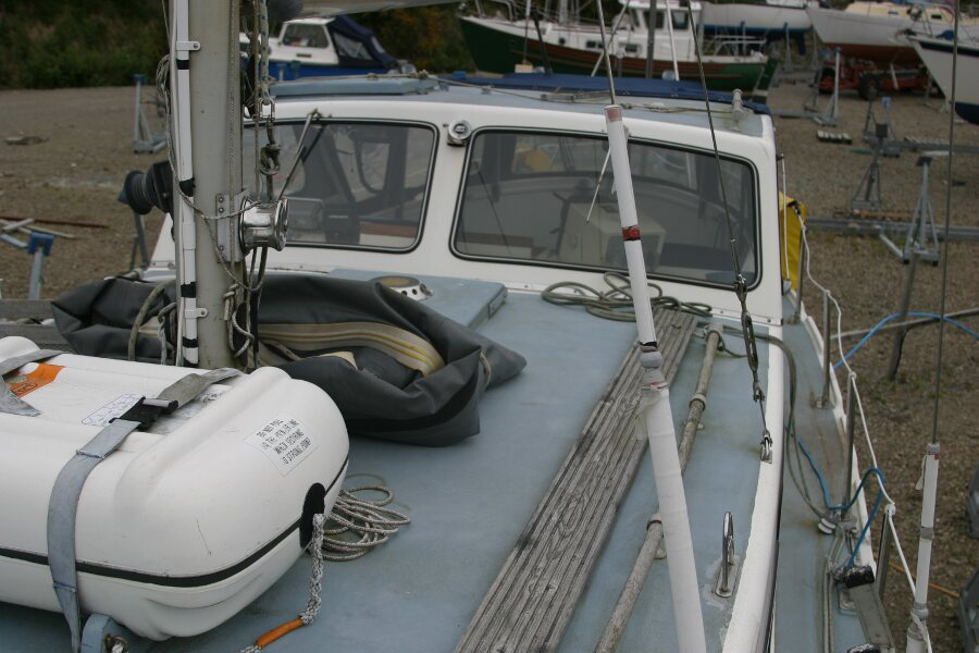 Finnsailer 35ft Motor Sailer looking aft, port side walkway