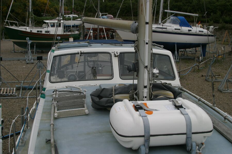 Finnsailer 35ft Motor Sailer Looking aft from the foredeck