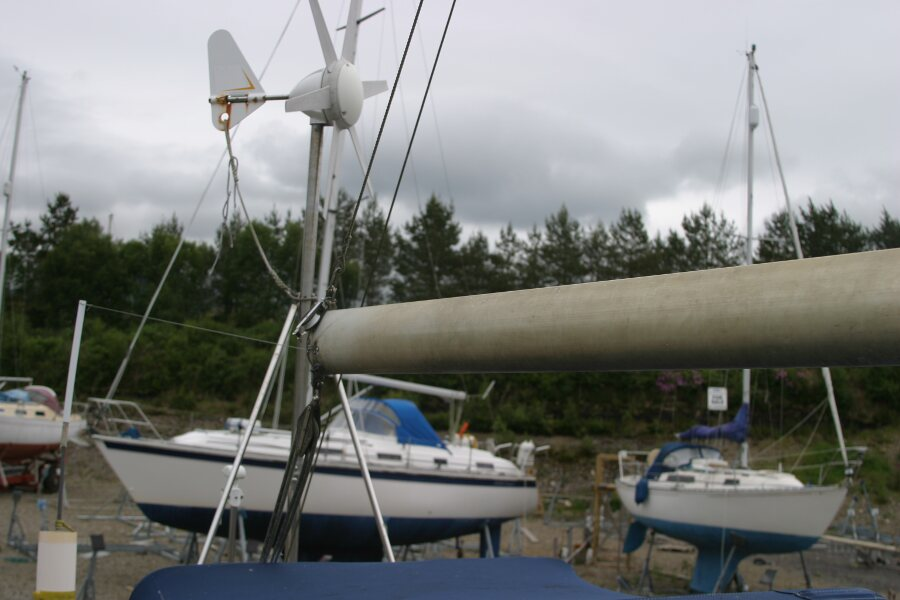 Finnsailer 35ft Motor Sailer Wind generator at stern