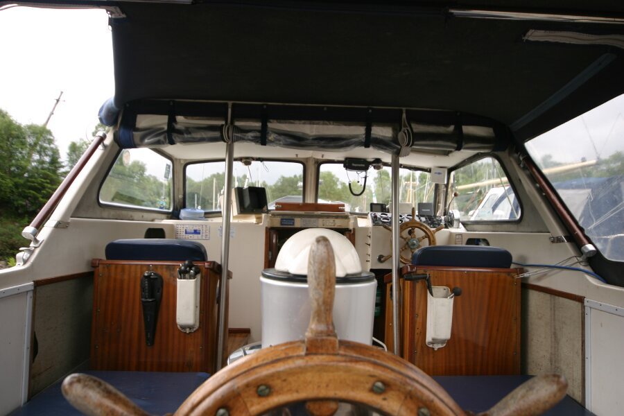 Finnsailer 35ft Motor Sailer At the aft helm position