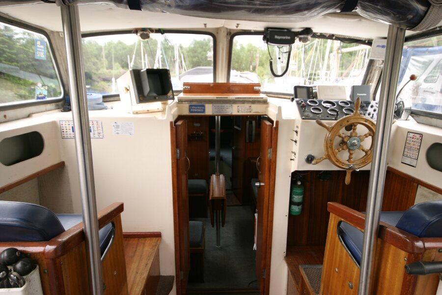 Finnsailer 35ft Motor Sailer Inside the wheelhouse