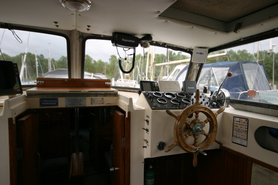 Finnsailer 35ft Motor Sailer Inside helm position