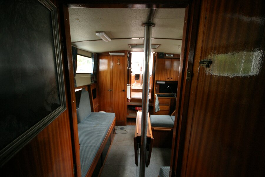 Finnsailer 35ft Motor Sailer Saloon from corridor to forward cabin