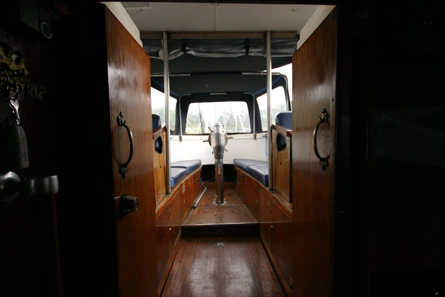Finnsailer 35ft Motor Sailer View out of companionway to cockpit