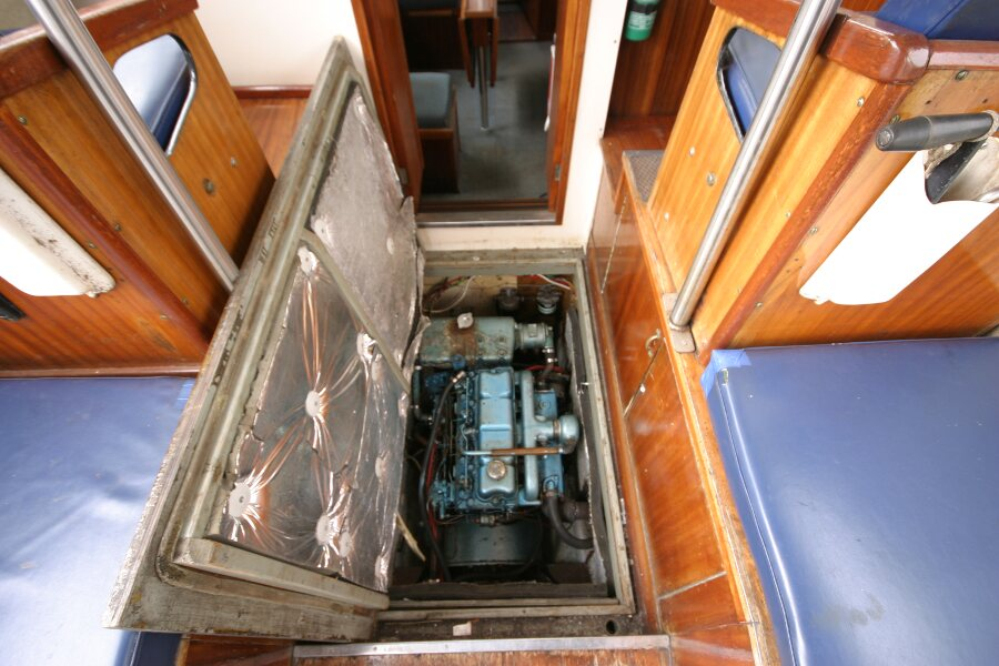 Finnsailer 35ft Motor Sailer Engine under wheelhouse floor