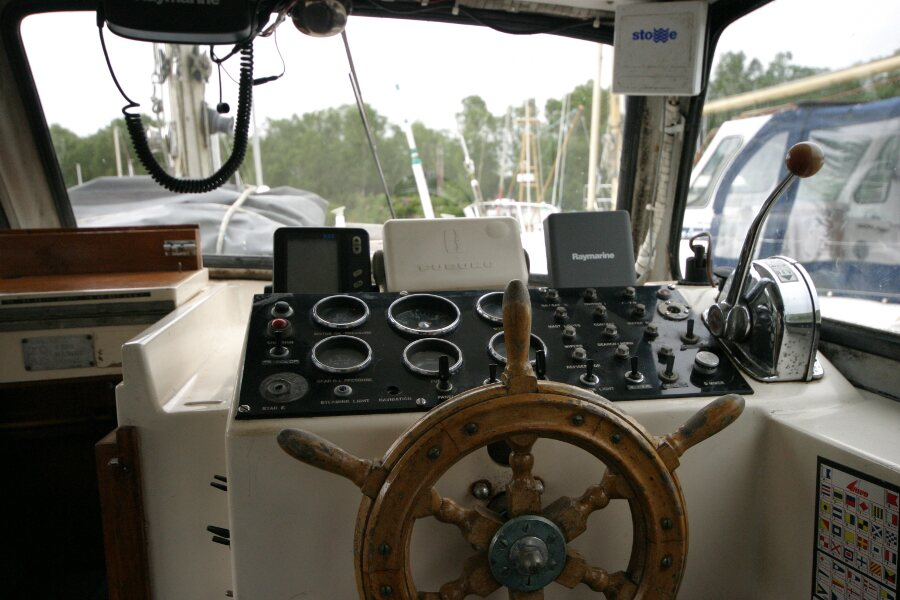 Finnsailer 35ft Motor Sailer Wheelhouse helm